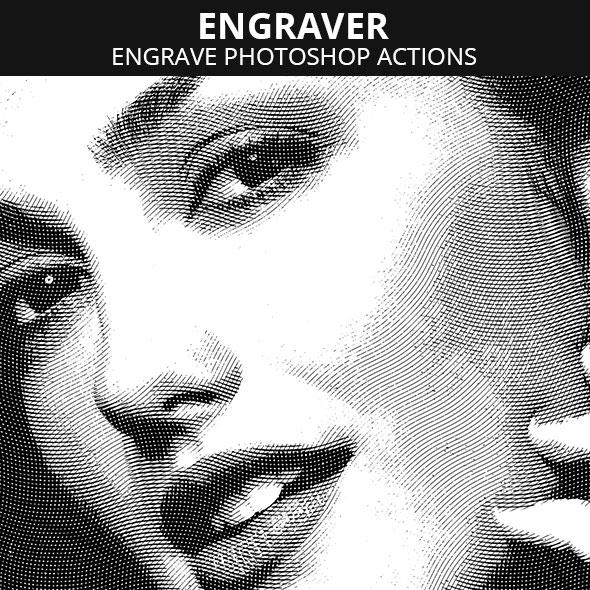 Engrave Photoshop action
