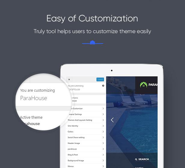 Easily customize Parahouse Real Estate WordPress Theme