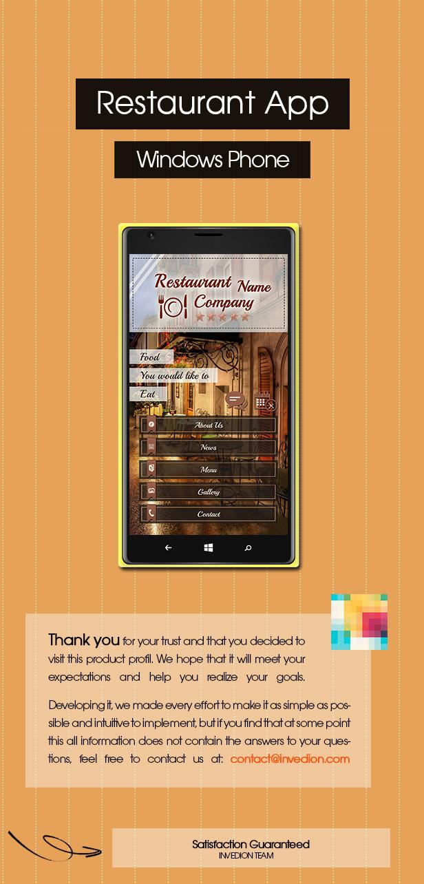 Restaurant App With CMS - Windows Phone - 1