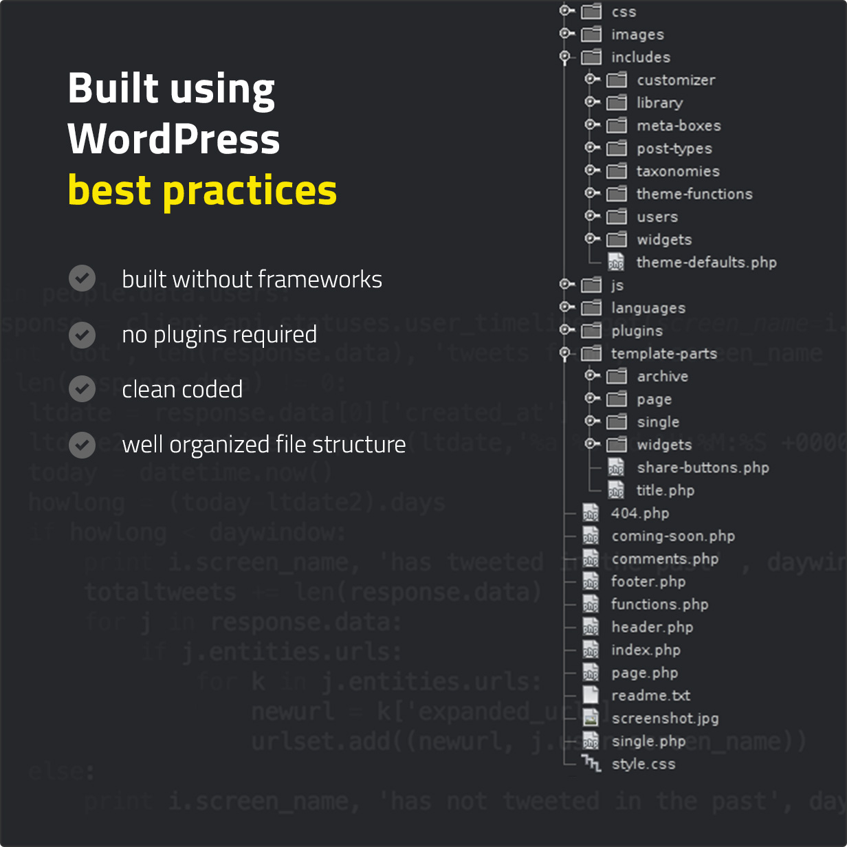 Built using WordPress best practices