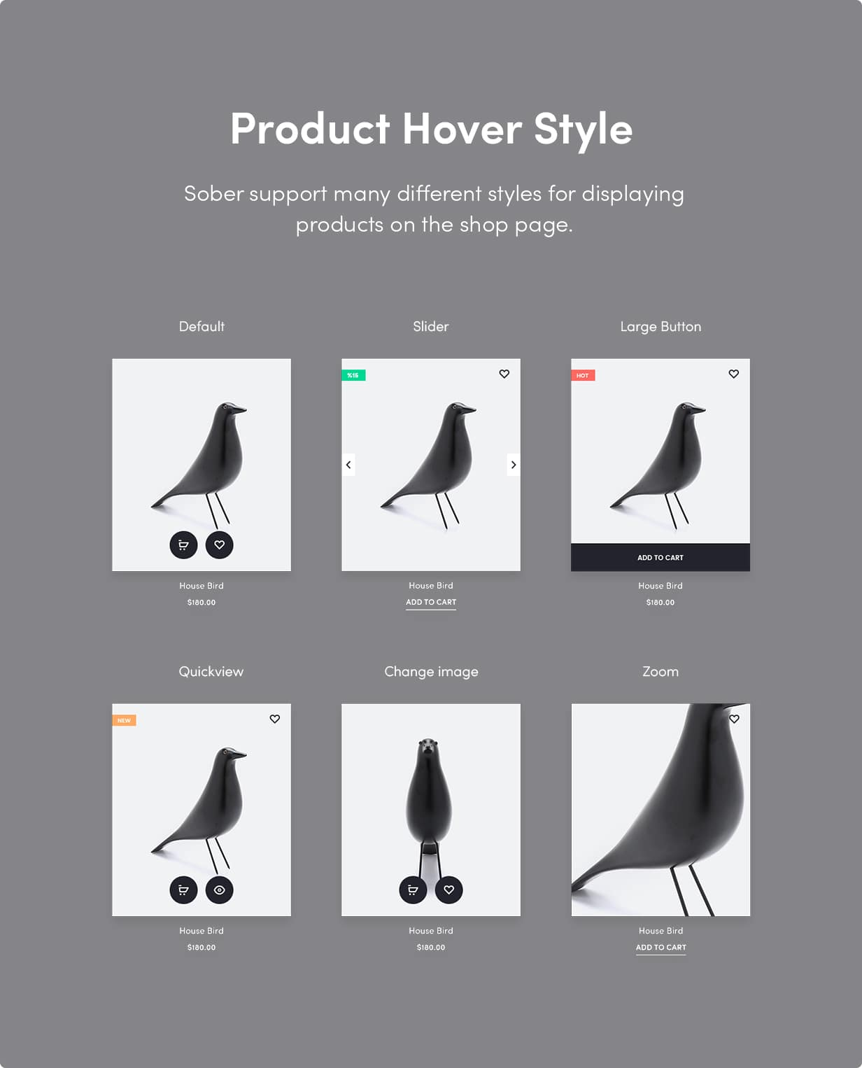 Sober WordPress theme product card styles