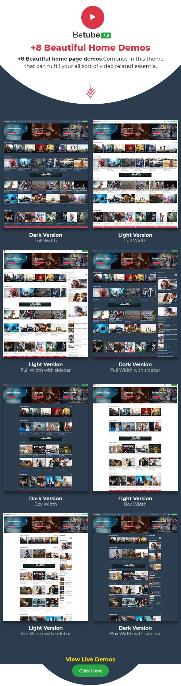 betube video WordPress theme demos