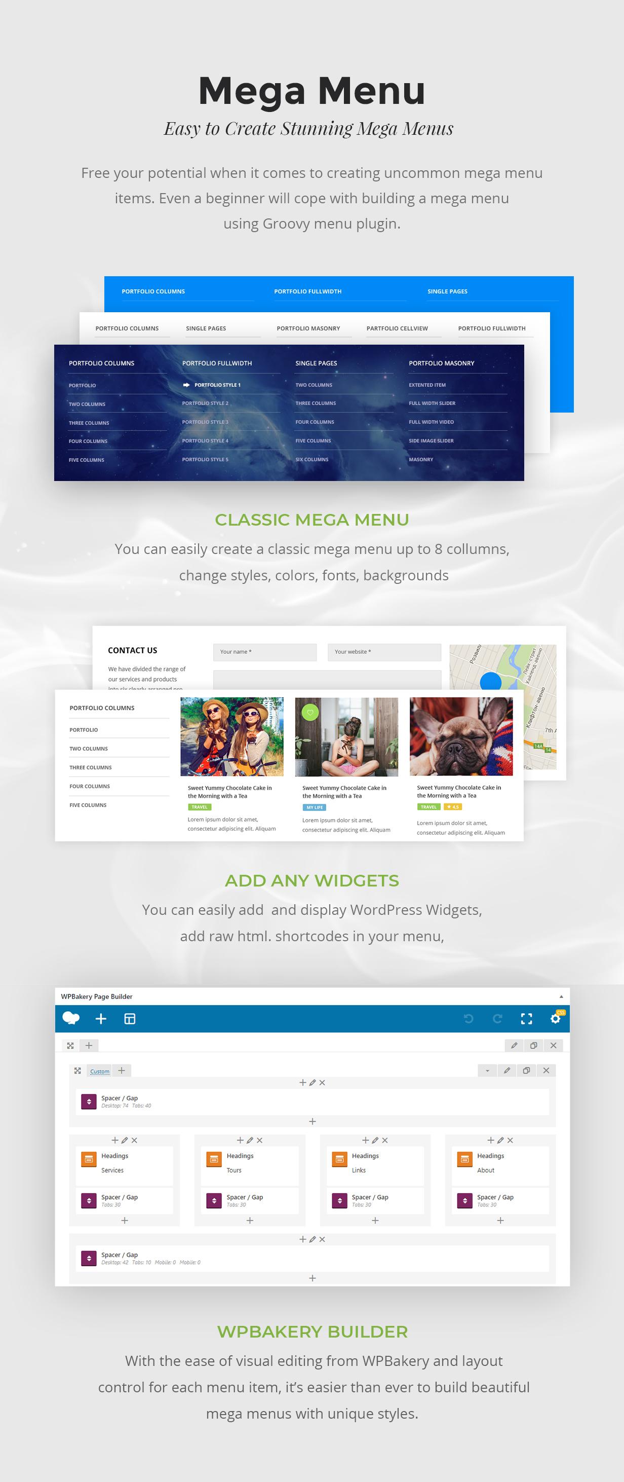 Mega Menu Wordpress Widgets, WPbakery widgets