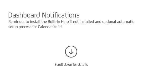 Dashboard Notifications when Calendarize it! has been installed