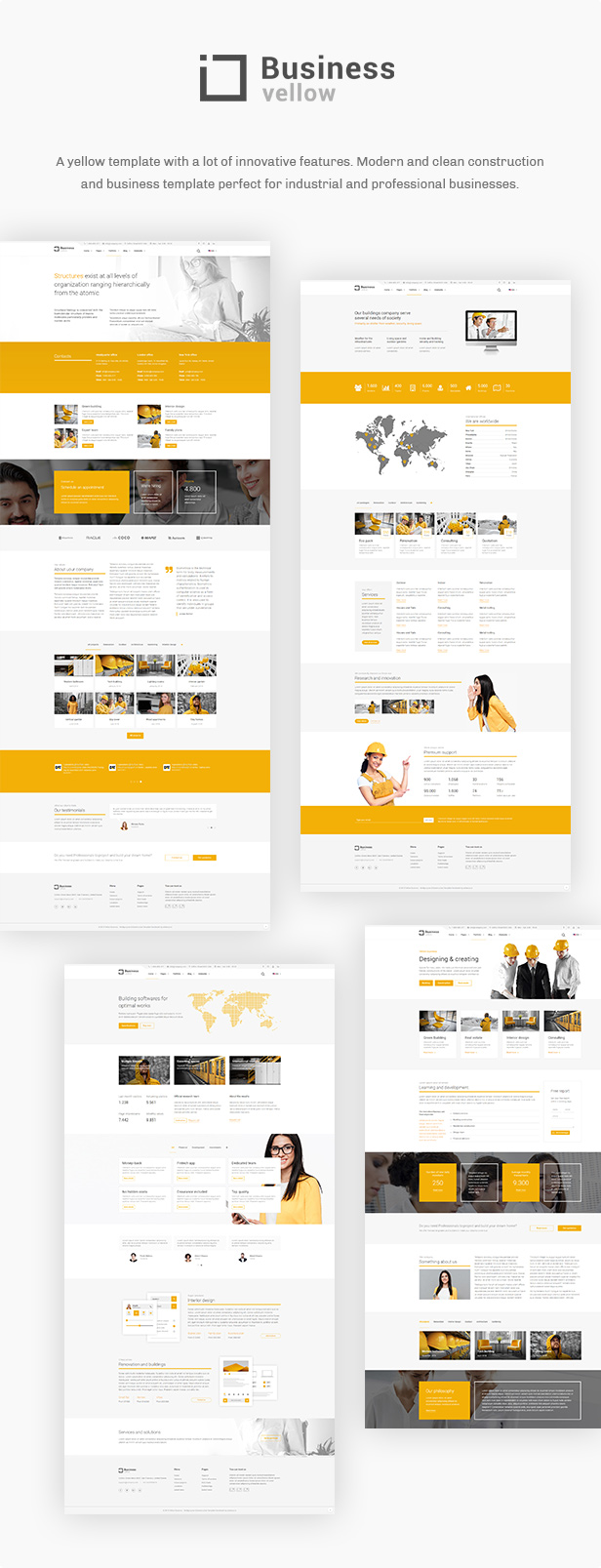 Yellow Business - Construction And Businesses Joomla Template