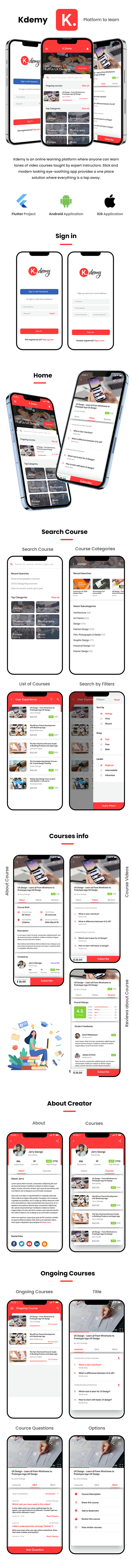 Online Learning App Template | Online exam app | Online class App| Android + iOS | FLUTTER | Kdemy - 1