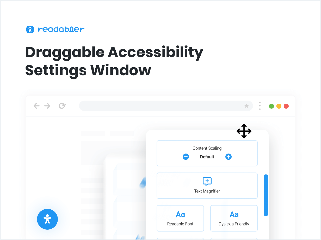 Draggable Accessibility Settings Window
