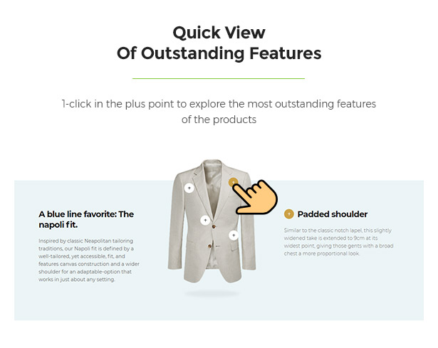 Product's Features Quick View Limonta - Modern Fashion WooCommerce WordPress Theme