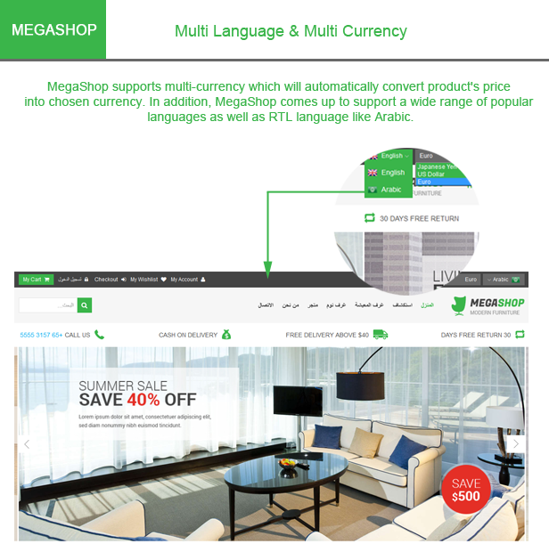 Megashop- Multi language, currency