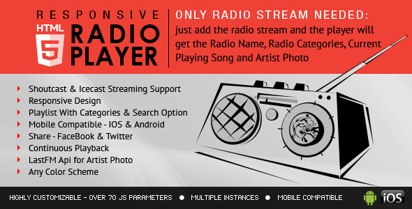 Radio Player With Playlist – Shoutcast and Icecast