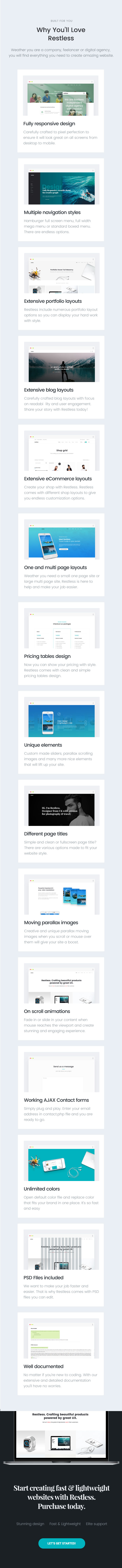 Restless Flexible and Lightweight Portfolio Agency Template