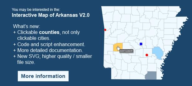 Interactive Map of Arkansas - Clickable Counties