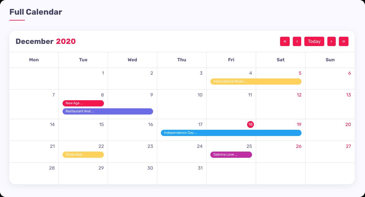 Quick Events - Full Calendar