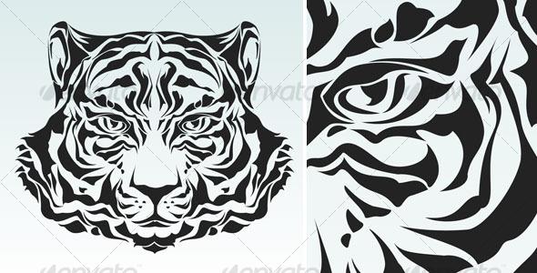wild tiger head tribal tattoo