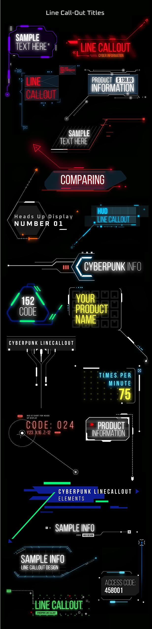 AE脚本-赛博朋克未来科幻霓虹灯发光文本标题背景动态工具包 Cyberpunk Titles Lowerthirds and Backgrounds插图4