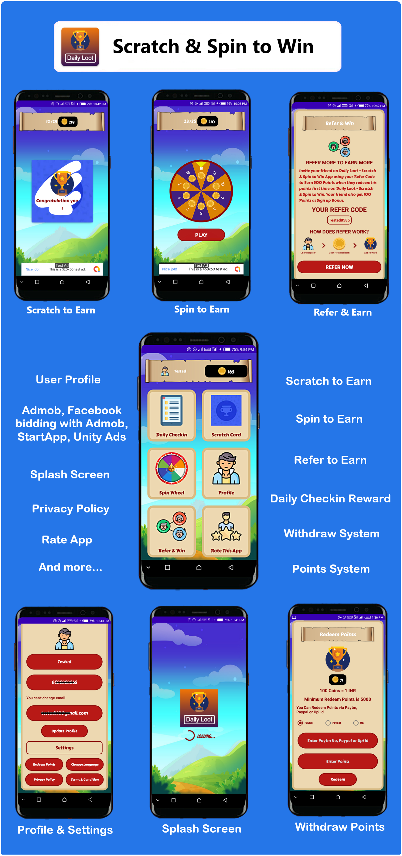Scratch & Spin to Win Android App with Earning System (Admob, Facebook, Start App Ads) - 3